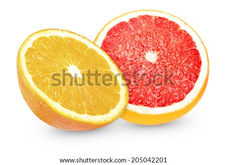 slice of grapefruit and oranges on a white background