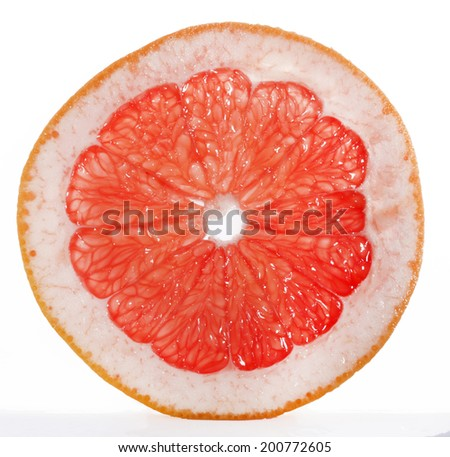 slice of grapefruit isolated on white background - stock photo