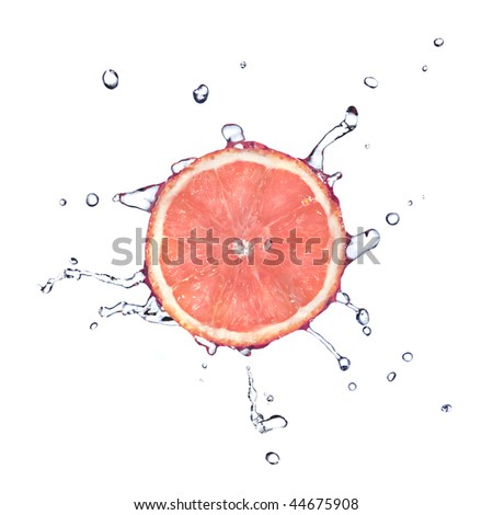 Slice of grapefruit with water drops isolated on white - stock photo