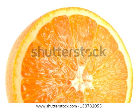 Slice of half ripe orange isolated on white background. Fresh diet citrus fruit (health). Healthy fruit with vitamins.