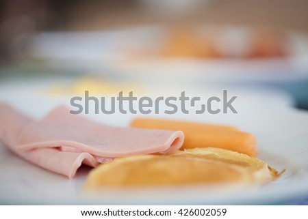 Slice of ham and bread