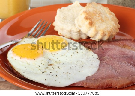 Slice of ham with fried eggs on a plate