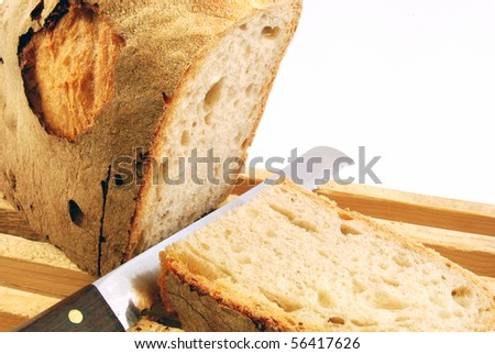 Slice of homemade bread - stock photo