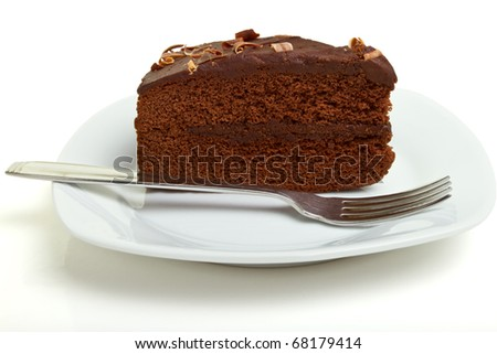 Slice of homemade Chocolate Cake isolated on white.