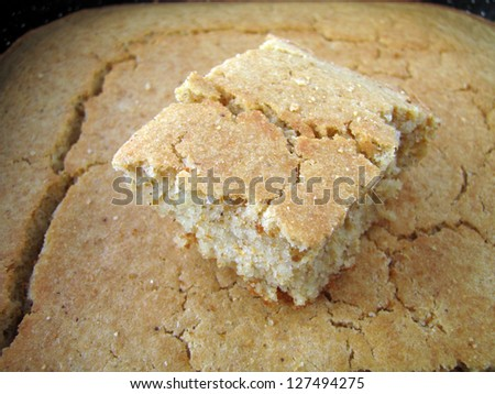Slice of homemade cornbread - stock photo