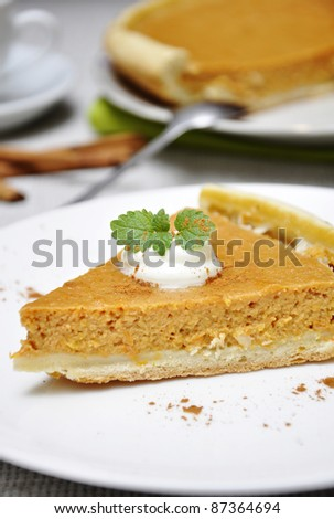 Slice of homemade pumpkin pie with whipped cream and mint served on white plate