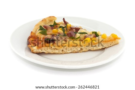 Slice of italian pizza on plate, isolated on white background - stock photo