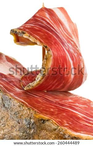 slice of jamon closeup - stock photo