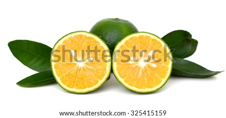 slice of king orange fruit isolated on white background