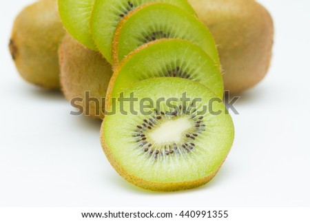 Slice of kiwi fruit isolated on white background, Close up