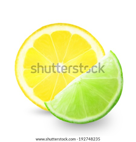 slice of lemon and lime on a white background  - stock photo