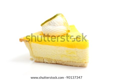 slice of lemon cheese cake isolated in white background - stock photo