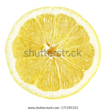 Slice of lemon fruit isolated on white with clipping path - stock photo