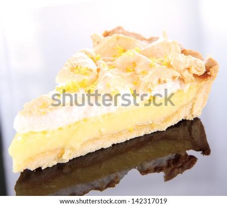 Slice of  Lemon Meringue Tart - stock photo