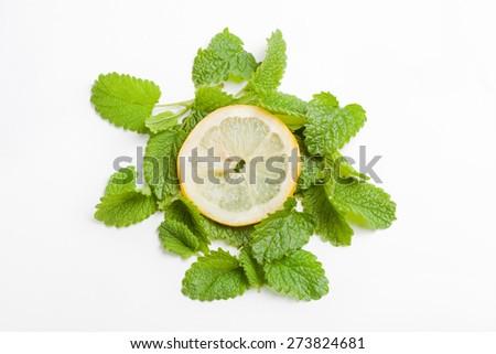slice of lemon on fresh green lemon balm leaf, white background - stock photo