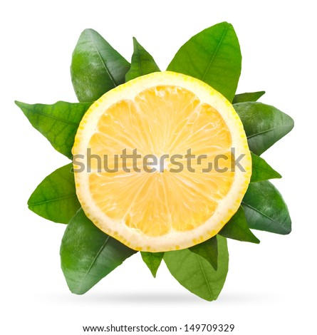 Slice of lemon with green leaves isolated on white background - stock photo
