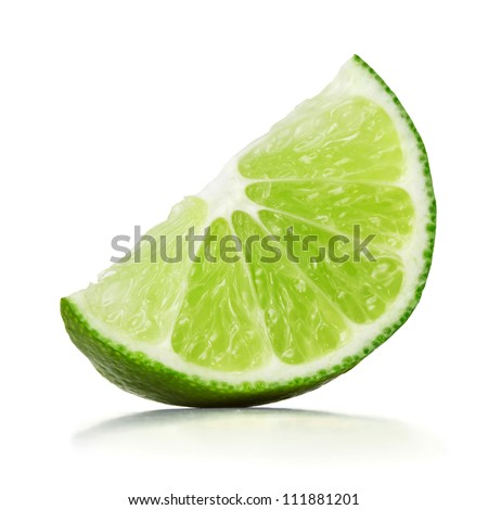 slice of lime over white background