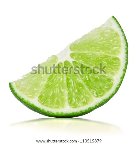 slice of lime over white background - stock photo