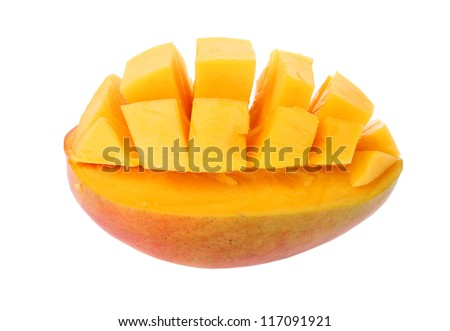 Slice of mango isolated on a white background
