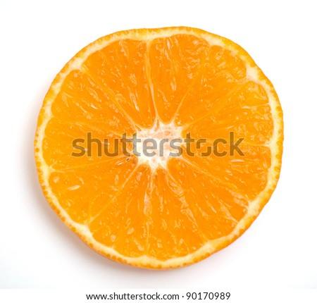 slice of orange closeup on white background - stock photo