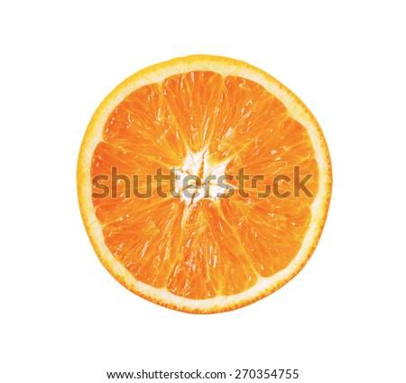 slice of orange fruit isolated - stock photo