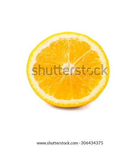 slice of orange fruit isolated