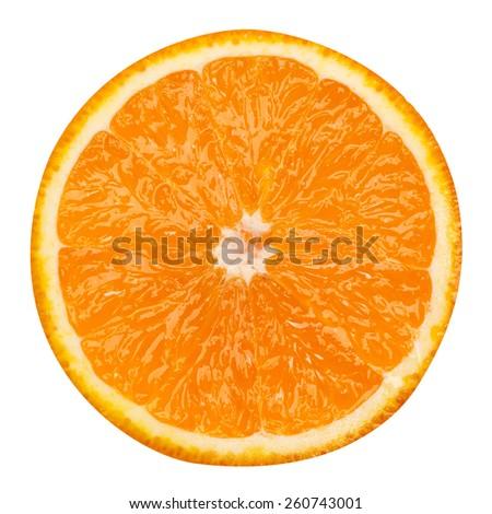 slice of orange fruit isolated clipping path  - stock photo
