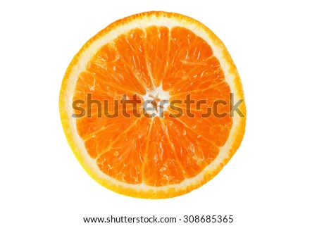 Slice of orange fruit isolated on white background - stock photo