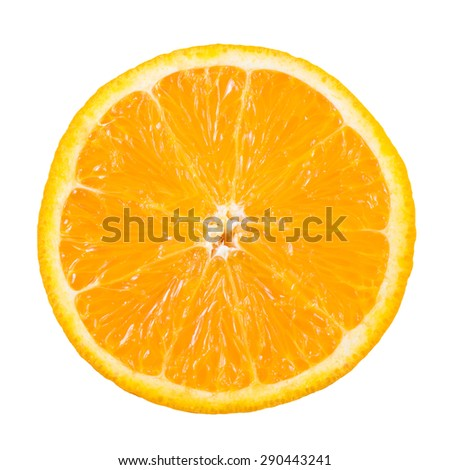 Slice of orange fruit isolated with clipping path - stock photo
