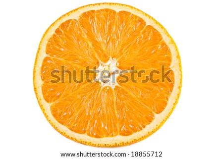 Slice of orange isolated on white - stock photo