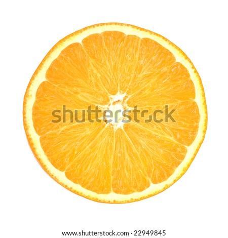 Slice of orange. isolated on white. - stock photo