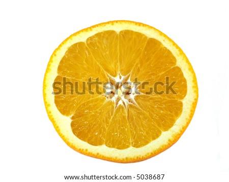 Slice of orange isolated on white background. - stock photo