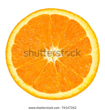 slice of orange isolated on white background, picture saved with clipping path - stock photo