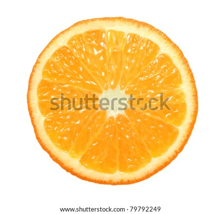 slice of orange on white background - stock photo