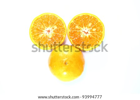 slice of orange on white background
