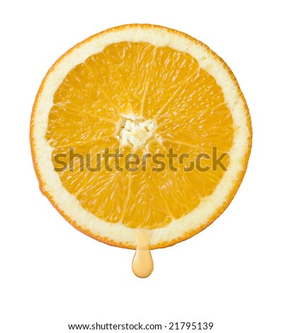 slice of orange with drop of juice isolated on white