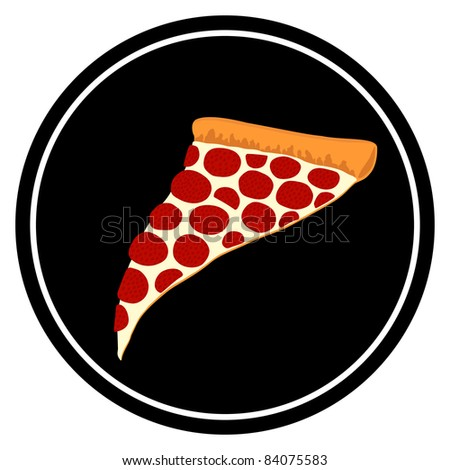 Slice of Pepperoni Pizza Illustrated Symbol - High Resolution JPEG Version. (vector version also available). - stock photo