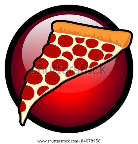 Slice of Pepperoni Pizza Symbol in Red Glass Circle - High Resolution JPEG Version. (vector version also available). - stock photo