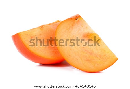 Slice of persimmon isolated on the white background.
