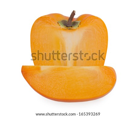 slice of persimmon on white background - stock photo