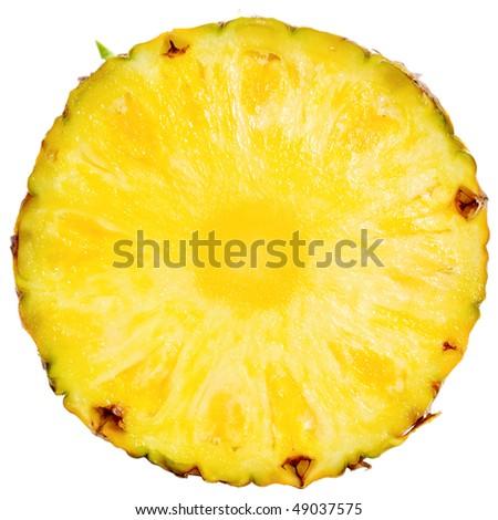 Slice of  Pineapple isolated on white background - stock photo