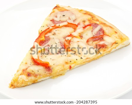 slice of pizza close-up isolated on white background - stock photo
