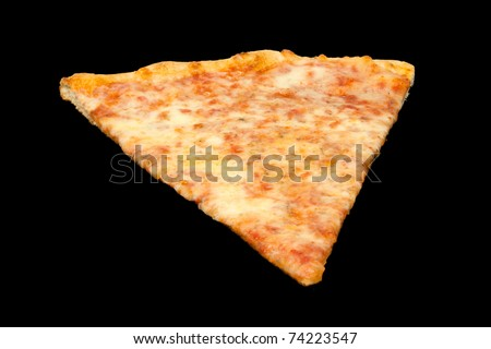 Slice of Pizza from the Pizzeria Isolated on a Black Background