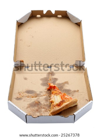 slice of pizza in a takeaway box isolated on white background