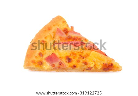 Slice of pizza isolated on white background