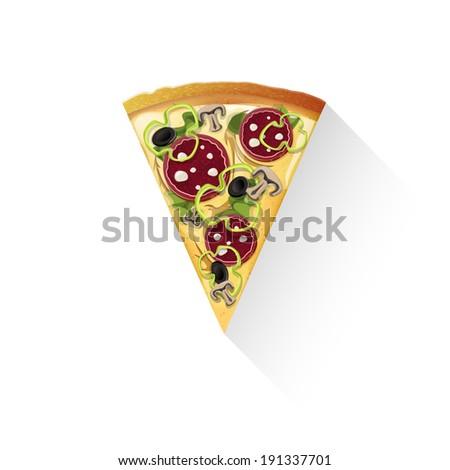 slice of pizza raster version - stock photo