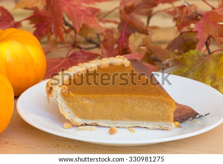 Slice of pumpkin pie with fall leaves in background - stock photo