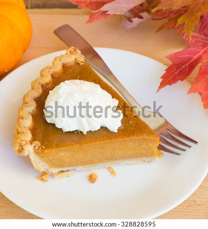 Slice of pumpkin pie with topping on a plate - stock photo