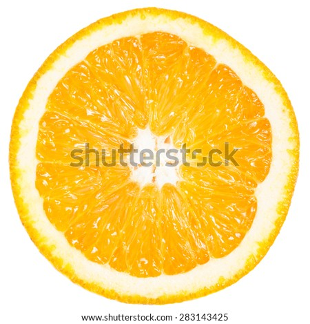 Slice of ripe orange isolated on white - stock photo