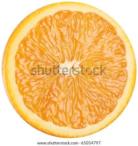 Slice of ripe orange. Macro on a white background. - stock photo